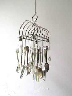Breakfast On The Verandah, Garden Wind Chime, Upcycled Toast Rack Vintage Silverware Handstamped Cutlery Kitchen Windchime Outdoor Mobile