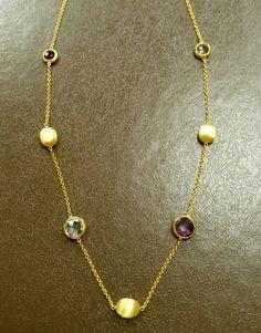 gold necklace k14 precious stones