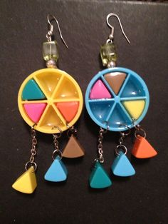 Funky 80s Trivial Pursuit Earrings on Etsy, $15.00