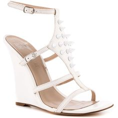 Truth or Dare By Madonna Women's Caransabes - White ($86) ❤ liked on Polyvore featuring shoes, sandals, wedges, ankle strap, casual, open toe, women, white ankle strap sandals, studded sandals and wedges shoes