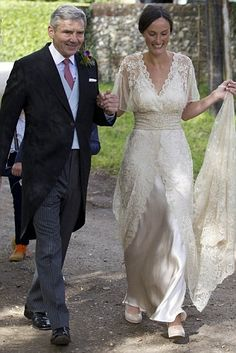 Doing the honours: Michael Middleton walks Thierry Kelaart towards the church and down the aisle // this wedding dress is gorgeous!