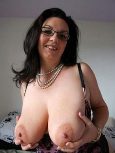 Horny mature woman with big nipples