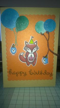 Happy Birthday Animal and Balloon card. Lawn Fawn stamps and die. Promarkers.