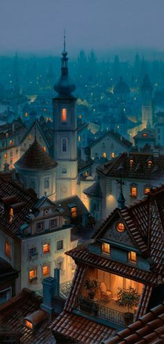 "thepaintedbench: "" Nightfall in Praga, Warsaw """