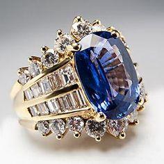 High Quality Natural Blue Sapphire & Diamond Cocktail Ring 18K Gold - EraGem