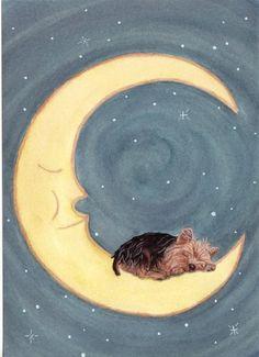 """Yorkshire terrier (yorkie) sleeping on moon / Lynch folk art print"" http://www.amazon.com/dp/B001C5ELRU/ref=cm_sw_r_pi_dp_0t3mxb075YJ7D"