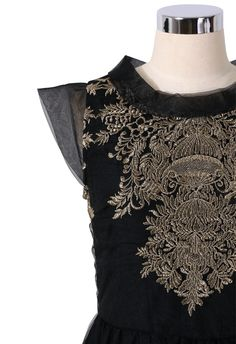 Organza Embroidery Black and Gold Dress