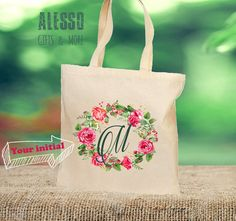 MONOGRAM TOTE BAG. Your initial pretty calligraphy by AlessoShop