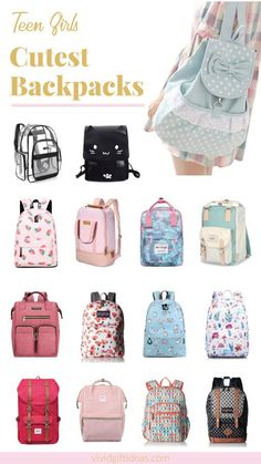 15 Cute Backpacks For Teen Girls: Trendy School Bags : Head back to school with style. Carry a chic school bag that matches your school outfits. See 15 stylish backpacks perfect for school and college. Cute Girl Backpacks, Stylish Backpacks, Awesome Backpacks, Backpacks For Teens School, Backpack For Teens, College Backpacks, Best School Backpack, Tween Backpacks, Outfit Ideas For Teen Girls