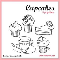 Free Cupcake Digital Stamps {Digital Stamps}This set of free digital stamps are perfect for a variety of hybrid crafts. Crafting ideas include a personalized card, birthday decorations, or even design an adorable cupcake banner.View This Tutorial