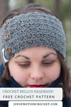 It's another day & another opportunity to share a FREE crochet pattern, the crochet Bellus Headband. Quick Crochet Patterns, Basic Crochet Stitches, Free Crochet, Knit Crochet, Crotchet Patterns, Crochet Ideas, Crochet Headband Pattern, Crochet Headbands, Scrap Yarn Crochet