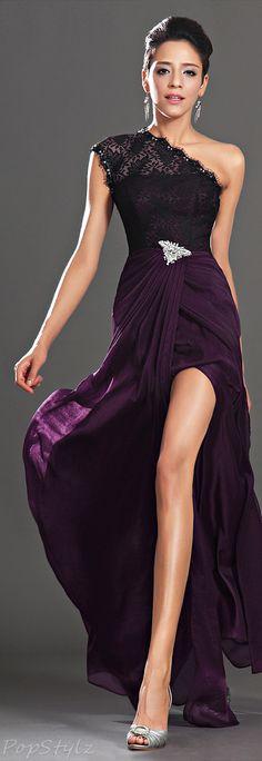 Lace Shoulder Evening Gown