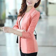 Women's Korean Style Slim ¾ Sleeve Coat – USD $ 23.99