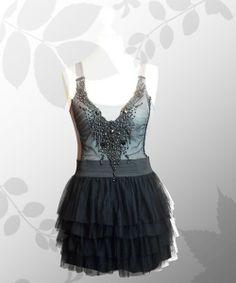Tüllkleid mit Perlen-Applikation schwarz/grau von Lady-Mabelicious auf DaWanda.com