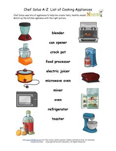 Teach children about the kitchen appliances they will encounter while cooking with our fun matching worksheet.