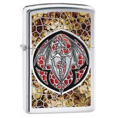 Zippo Lighter: Anne Stokes Dragon, Fusion - High Polish Chrome 29253