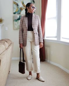 How to style a blazer - turtleneck top, cropped straight pants and mules | For more style inspiration visit 40plusstyle.com