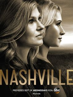 Nashville ) A fading country music star comes into conflict with a rising teen star. Created by Callie Khouri. With Connie Britton, Clare Bowen, Eric Close, Hayden Panettiere. Nashville Seasons, Nashville Tv Show, Visit Nashville, Nashville Music, Hayden Panettiere, Connie Britton Nashville, Glee, Gotham, Poster