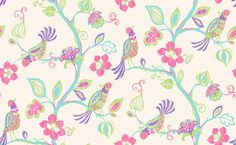 Paradise (M0740) - Crown Wallpapers - A beautiful illustration of birds of paradise nestling amidst the branches of a tropical forest. Showing in hot pastel colouring on beige - more colours are available. Please request a sample for true colour match.
