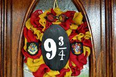 Harry Potter Wreath, Hogwarts Wreath, Gryffindor Wreath, Burlap Wreath, Halloween Wreath, Anytime Wreath, Colored Burlap Wreath by ElegantDoorDecor on Etsy