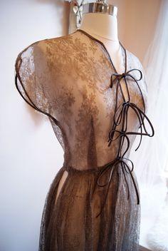 50s Dress / 1950s Couture Dress / Vintage 1950s Gray Couture Chantilly Lace Dress Size S. $248.00, via Etsy.