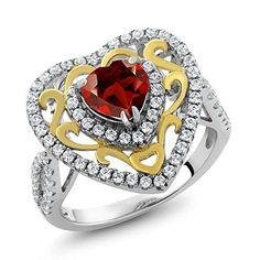 1.90 Ct Heart Shape Natural Red Garnet Two-Tone 925 Sterling Silver Ring (Available in size 5, 6, 7, 8, 9). CARAT TOTAL WEIGHT - 1.90 CT (This item is proudly custom made in the USA). MEASUREMENT - 6mm Heart Shape 100% Natural Red Garnet Ring (All the sizes displayed are in stock) Crafted in 2-Tone 925 Sterling Silver. This beautiful design jewelry is unique and elegant,which is suitable for you to wear at any occasion and can be matched with any outfit. PERFECT - For gifts for birthday…