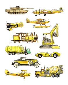Things that Go Yellow Transportation Art Print by FlightsByNumber