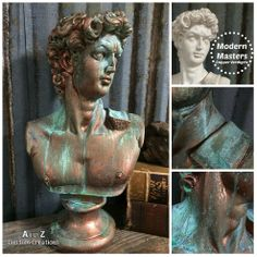 transforming a plaster bust with copper verdigris, painting, repurposing upcycling Faux Painting, Painting Tips, Painting Techniques, Stencil Painting, Patina Paint, Copper Paint, Patina Finish, Stencils, Damask Stencil