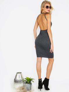 ärmelloses rückenfreies Bodycon Kleid - grau
