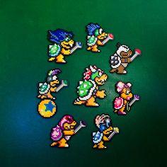 Super Mario Bros 3 Koopalings & King Koopa https://www.etsy.com/listing/267891077/sm3-koopa-king-koopalings #SuperMario #Mario #Nintendo #Koopa #Kids #Bowser #King #Boss #Koopalings #perler #beads #pixelart