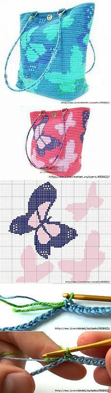 Discover thousands of images about Tapestry crochet bag . Mochila Crochet, Bag Crochet, Crochet Shell Stitch, Crochet Handbags, Crochet Purses, Crochet Chart, Crochet Clothes, Crochet Stitches, Butterfly Bags