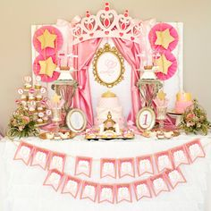 Little Princess Party Decor.  Princess birthday initial backdrop print by Charming Touch Parties.  Pink and gold.  Physical product.