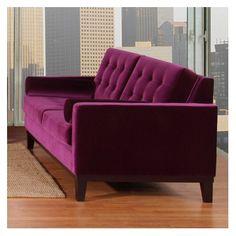 Armen Living Centennial Velvet Sofa in Purple
