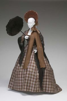 ~Day Dress: ca. 1855-1865, American, silk taffeta, machine lace~