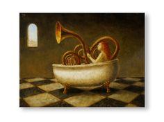 "Jake Baddeley                                              ""bath time is rag time""                                      Oil on panel, 2012."