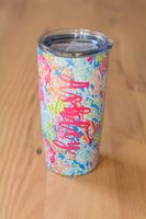 Coral 20 oz Stainless Tumbler with Nicole Font