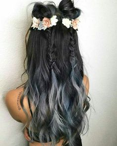 Silver ombre with double braided top knots