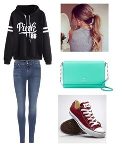 """""""💕💕"""" by zain-mjalli on Polyvore featuring 7 For All Mankind, WithChic, Kate Spade and Converse"""