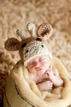 Little Giraffe Hat Crochet Photography Prop by BabiesBugsAndBees, $18.00