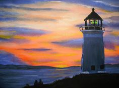 Lover's lighthouse. Acrylic painting. A014 by AMScenicPaintings