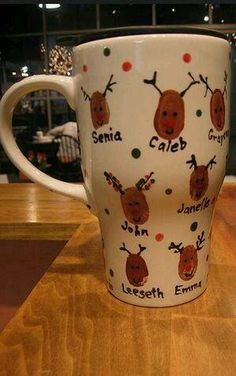 """Deer""Fingerprints of Family or Friends on Mug(Christmas Gift Idea)"