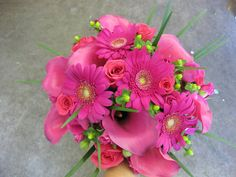 Hot Pink Gerber Daisy and Calla Lily Bouquet.