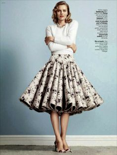Eva Herzigova for L'Express Styles December 2013 #skirt #midiskirt #fullskirt