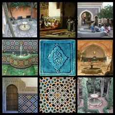 Some main elements of the Moroccan design style are Moorish tiles and fountains. Moroccan Pattern, Moroccan Design, Moroccan Decor, Moroccan Garden, Moroccan Bathroom, Moroccan Tiles, Morrocan Architecture, Islamic Architecture, Iron Trellis