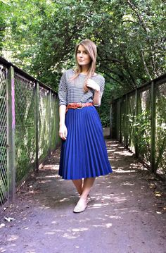 Style Trunk: Breton top with pleated midi skirt