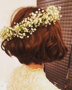 #花嫁#ヘアアレンジ#ボブスタイル#花冠#かすみ草 #ナチュラル#ウェディングドレス#ヘアセット#ヘアスタイル#flower#weddingdress #hair#weddinghair #bridal#wedding#ヘア#結婚式#挙式#Instagram