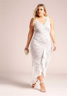 Plus Size Floral Lace Ruffle Hi-Lo Maxi Gown
