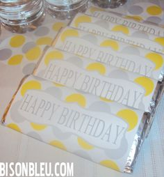 Free Bison Bleu Yellow Gray Birthday Candy Bar Wraps