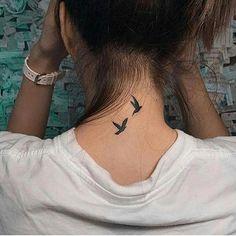 new ideas small bird tattoo dove bone tattoo neck tattoo tattoo tattoo tattoos ideas collar bone Two Birds Tattoo, Little Bird Tattoos, Cute Small Tattoos, Small Tattoo Designs, Trendy Tattoos, Small Tattoos On Neck, Awesome Tattoos, Back Neck Tattoos, Behind The Neck Tattoos