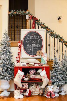 Vintage Santa Christmas Party with Full of DARLING IDEAS via Kara's Party Ideas   KarasPartyIdeas.com #ChristmasParty #SantaParty #blogherholidays